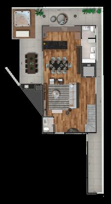 Cobertura The Edge 3 Dorms Unidade 405 Piso Inferior